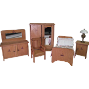 "Wooden Doll House Furniture - 4 Piece Bedroom Set - 1"" Scale"