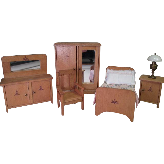"""Wooden Doll House Furniture - 5 Piece Bedroom Set and Lamp - Larger 1"""" Scale"""