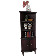 """Red Stain Doll House Furniture - Bow Front Corner Shelf and Cabinet - 1"""" Scale - Germany"""