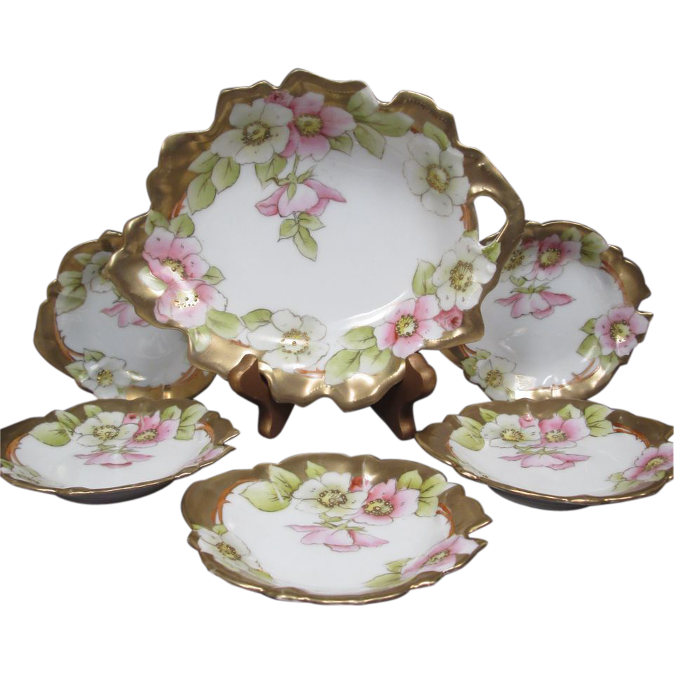 Porcelain Nut or Mint Set - 6 Piece with Master Bowl and 5 Smaller Bowls - Tirschenreuth Porcelain Factory - Bavaria - Germany
