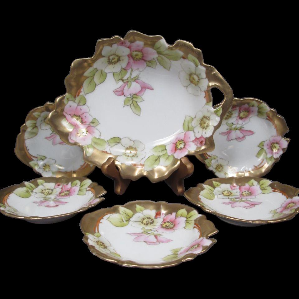 Porcelain Nut or Mint Set - 6 Piece with Master Bowl and 5 Smaller Bowls - Tirschenreuth Porcelain Factory - Bavaria - Germany