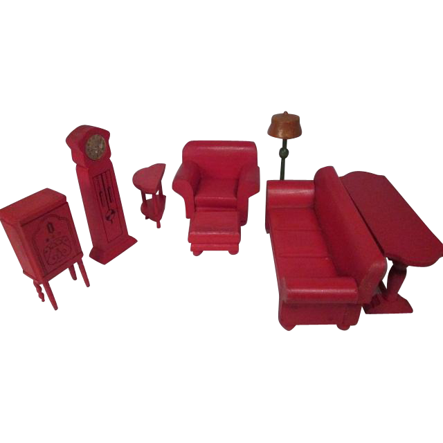 "Strombecker Dollhouse Furniture - Complete 8 Piece Red Living Room Set - 1"" Scale"