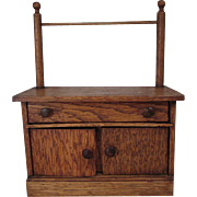 Miniature Oak Wash Stand with Towel Bar - Small Dolls or Display