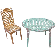 Metal Dollhouse Furniture - Table & Chair - French Penny Toy - Simon et Rivollet - Half Scale