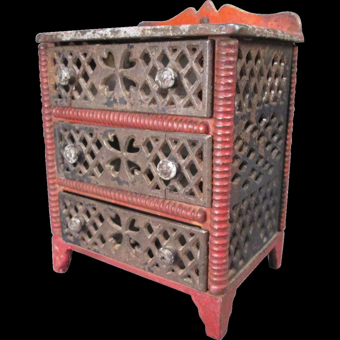"""Antique Dollhouse Furniture  - J E Stevens Cast Iron Dresser - Large 1"""" Scale"""