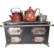 Victorian Era Toy Stove - Large Size - Four Pieces of Brown Enamelware