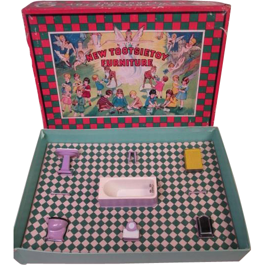 Tootsie Toy Bathroom Set in Orchid - Original Box - Excellent Condition