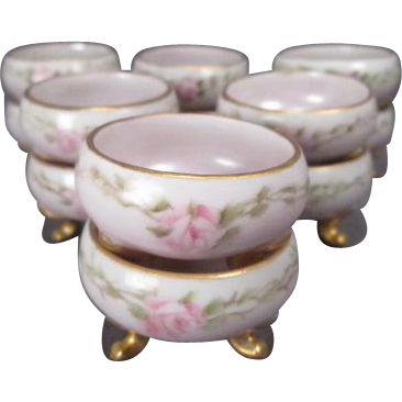 12 Porcelain Individual Salt Cellars - Hand Painted with Pink Roses - Made in Austria - Princess Louise