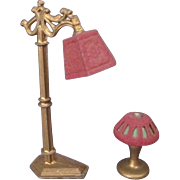 Tootsie Toy Floor & Table Lamps - 1920's - 30's - Gold with Red Shades