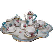 Crown Staffordshire Miniature Tea or Coffee Set - Floral Bouquet with Blue Trim