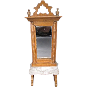 "Schneegas Doll House Pier Glass Mirror for 1"" Scale Dollhouse - Golden Oak Finish with Marble Top - Made in Germany"