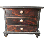 "Miniature Dollhouse Chest of Drawers with Faux Grain Finish - Kestner Germany - 1"" Scale"