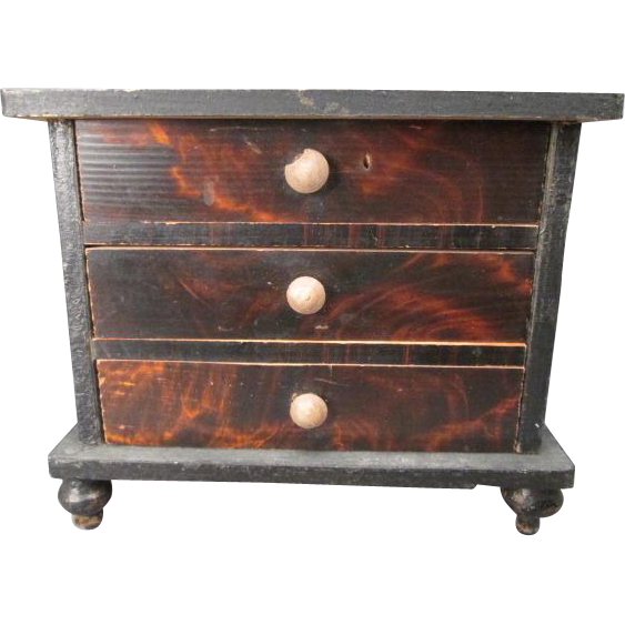 """Miniature Dollhouse Chest of Drawers with Faux Grain Finish - Kestner Germany - 1"""" Scale"""