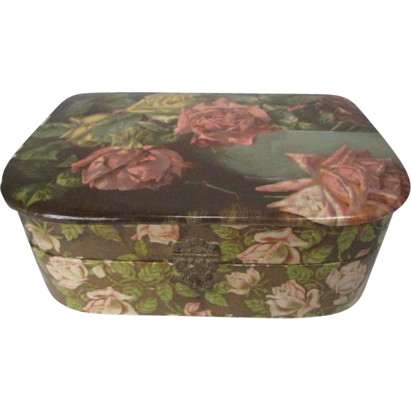 Celluloid Vanity Dresser Box Covered in Roses - Early 20th Century