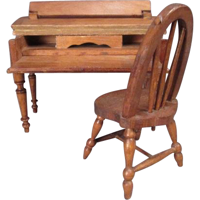 "Schneegas Dollhouse Desk and Windsor Chair - 1"" Scale"