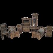 German Dollhouse Furniture - 7 Piece Bedroom Set - 1910-1920