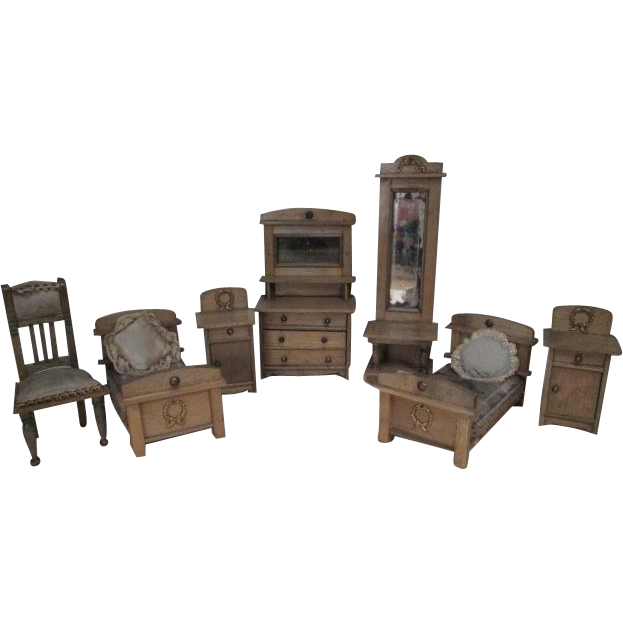 German Dollhouse Furniture - 7 Piece Bedroom Set - 1910-1920
