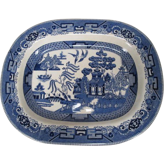 "Buffalo Pottery Large Blue Willow Platter - 14"" by 11"" - 1909"