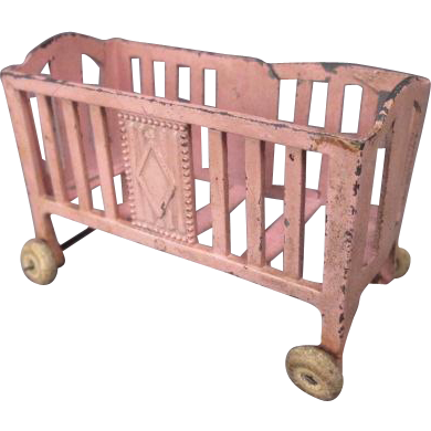 Metal Dollhouse Furniture - Pink Crib on Wheels - Early 1900's.