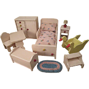 """Strombecker Dollhouse Furniture - Child's Bedroom or Nursery - 1"""" Scale - 1938"""