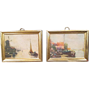 German Dollhouse Accessories - Pair of Erhard & Sohn Prints - Scenes of Holland