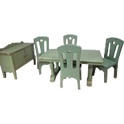 """Strombecker Dollhouse Furniture - Complete Green Dining Room from 1934 - 1"""" Scale"""