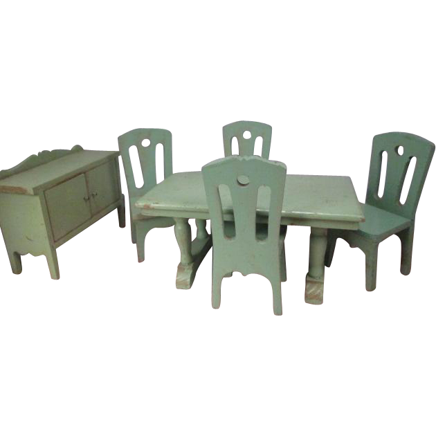 "Strombecker Dollhouse Furniture - Complete Green Dining Room from 1934 - 1"" Scale"