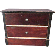 "Antique Dollhouse Furniture - Early Biedermeier 2 Drawer Chest - Made in Germany - 1"" Scale"