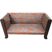 """German Dollhouse Furniture - Red Stain Davenport Style Upholstered Sofa or Love Seat - Small 1"""" Scale"""