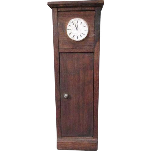 "German Doll House Furniture - Red Stain Grandfather Clock - 3/4"" Scale"