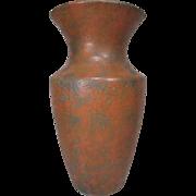 "Burley Winter Art Pottery Vase - 12 1/2"" Tall - Orange and Green Double Glaze - Mold 201-K"