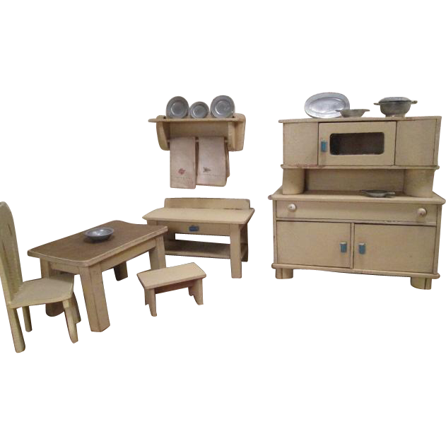 "Antique Wooden Dollhouse Furniture - 6 Piece Kitchen Set with Accessories - Large 1"" Scale"