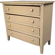 """Vintage German Dollhouse Furniture - 4 Drawer Dresser - Large 1"""" Scale"""