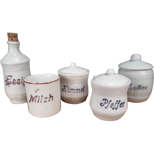German Porcelain Canisters for Large Dollhouse or Room Display