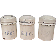 "Antique Dollhouse Accessory - 3 German Tin Canisters for Large Dollhouse or Display - 1 5/8"" tall"