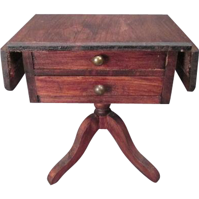 "German Doll House Furniture - Red Stain Sewing Table - 1"" Scale"