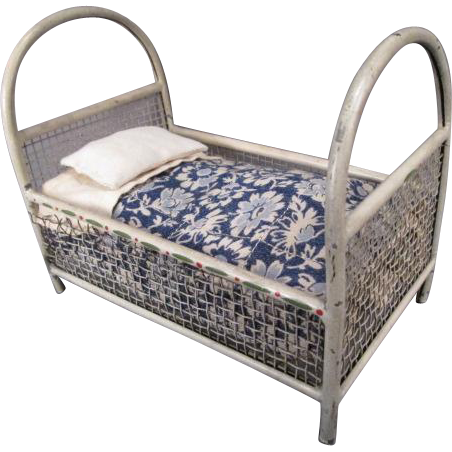 """Vintage German Dollhouse Furniture - Metal Youth Bed and Bedding - 1"""" Scale"""