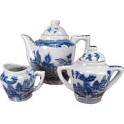 Child's Miniature Porcelain Tea Set - Blue Willow Transferware Pattern - Tea Pot, Creamer and Sugar Bowl
