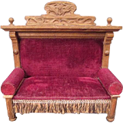 "Antique German Dollhouse Furniture - Settee or Sofa with Art Nouveau Details - 1"" Scale"