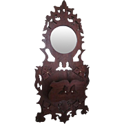 Victorian Walnut Fretwork Foyer Mirror and Wallpocket