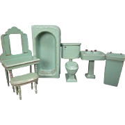 "Vintage Dollhouse Furniture - Strombecker 6 Piece Bathroom Set - 1"" Scale"