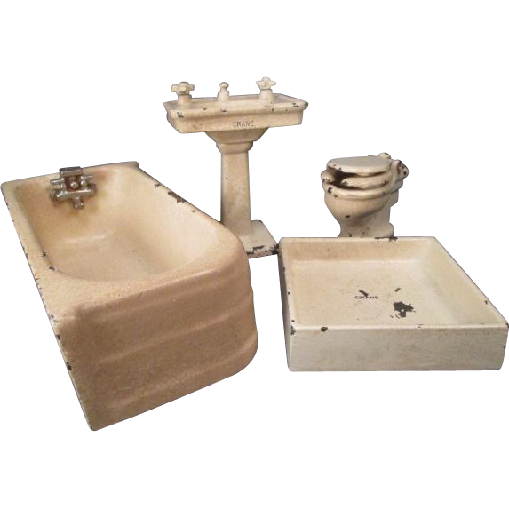 "Vintage Dollhouse Furniture - 4 Piece ""Crane"" Arcade Cast Iron Bathroom - Larger 1 1/4"" Scale"