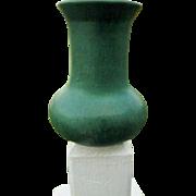 """Zanesville Stoneware Company Pottery - 7"""" Vase with Dark Green Matte Finish #105- Art Deco Era"""