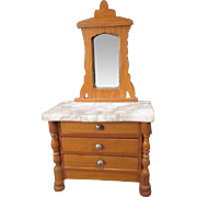 "German Dollhouse Furniture - Schneegas Golden Oak 3 Drawer Dresser with Marble Top & Mirror - 1"" Scale"