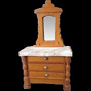 "German Dollhouse Furniture - Schneegas Golden Oak 3 Drawer Dresser with Marble Top & Mirror - 1"" Scale"