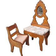 "German Dollhouse Furniture - Schneegas Golden Oak Vanity and Chair - 3/4"" Scale"
