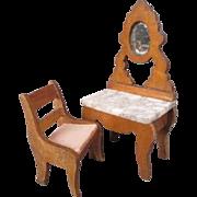 "German Dollhouse Furniture - Schneegas Golden Oak Vanity and Chair - 3/4"" Scale"
