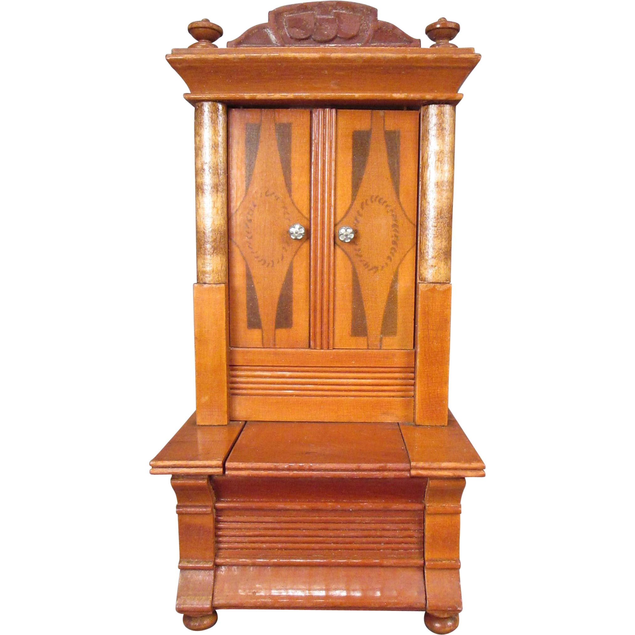"""German Dollhouse Furniture - Hall Cupboard with Bench - Larger 1"""" Scale"""