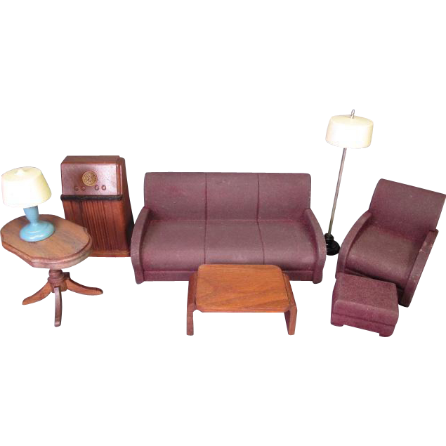 """Strombecker Dollhouse Furniture - Complete 8 Piece Living Room Set from 1938 - 1"""" Scale"""