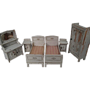 "German Dollhouse Furniture - Gottschalk 6 Piece Bedroom Set - Large 1"" Scale"